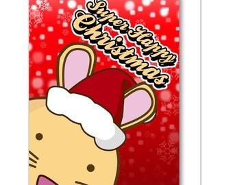 Super Happy Christmas Bunny Greeting Card Blank Rabbit Santa Snow Xmas Funny Cute Humor Kawaii Kitty Fuzzballs Gift Idea For Her Present
