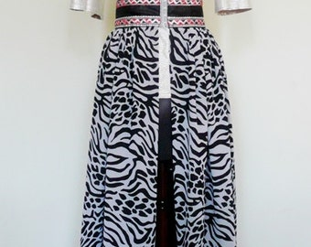 SAMPLE SALE - 40% Off - Black and White Animal Print Chiffon Skirt, Ladies' Evening Dress, Embellished Maxi Skirt - One of a kind