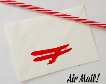 Vintage Plane Envelope Seals/ Stickers, Vinyl, Wall Decals