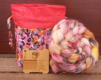 Spinning Kit, 4oz Roving Project Bag and Spinnerzz Gauge from Burning Impressions - Ready to ship