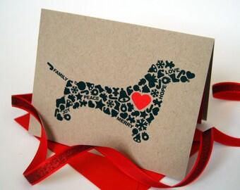 Dachsund Christmas Card, Dog Holiday Card, Holiday Icons Card, Single Card, Set of 4 or 8