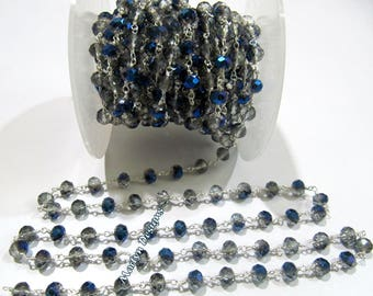 AAA Quality Mystic Blue Coated Hydro Quartz Beaded Chain , 6 mm Rondelle Faceted Rosary Chain , Wire Wrapped Chain , Sold per 3 FEET.