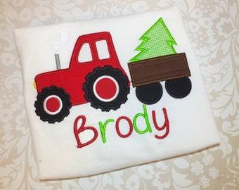 Boys Christmas Shirt, tractor Christmas Shirt, gingham Christmas shirt, boys Christmas shirt, shirt with name, personalized, christmas tree