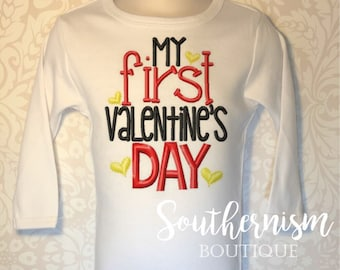 First Valentines Day Shirt, Boy Valentine Day, Baby Valentines Day, Sibling valentines Day, monogram, personalized, custom embroidery