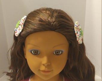 Polka Dot and Green Flower Hair Clips