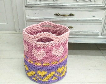 Crochet color HEART Basket - nursery color basket - toy large basket storage  box