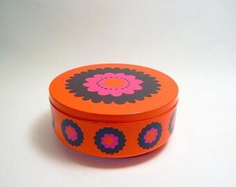 Vintage Dutch Retro Cookie Tin with Seventies Orange Floral Design Patrice made by Brabantia