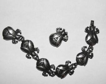 Silverplated William Spratling Taxco Bug Bracelet Fur Clip Set