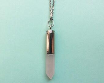 Rose quartz bullet necklace