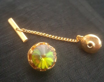 Vintage Gold Tone Heliotrope, Rivoli, Watermelon Tie Tack Pin, Lapel Pin Rainbow Turmaline  1960's