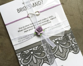 Bridesmaid invitation, Knot bracelet, Asking bridesmaid, ask bridesmaids, Will you be my bridesmaid, Bridesmaid bracelet, Wish bracelet, B3
