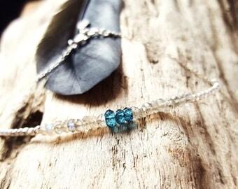 Topaz bracelet - Silver 925 - labradorite and Topaz blue