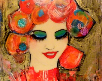 "original canvas woman ""Yumi"" acrylic mixed media-contemporary painting-portrait asiatique"