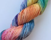 "SANDIA - hand dyed fine fingering sock weight yarn (4 oz. = 115 gr./434 yds.) colorway ""Wendy's Confetti Sky"""