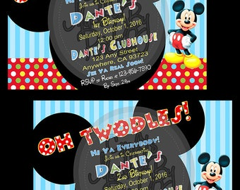 Mickey Mouse or Minnie Mouse Clubhouse Invitation, Oh Toodles/Twodles, Thank You Cards Heinz Bottle Labels & Printable Happy Birthday Banner