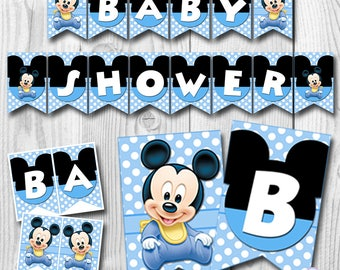 Baby MICKEY MOUSE Baby Shower Banner, Baby Mickey Mouse Banner, Baby Shower Banner, Mickey Mouse Banner, PRINTABLE