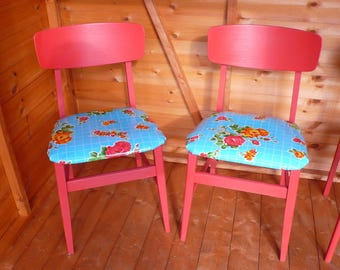 Upcycled kitchen dining chairs Red vintage Mexican oilcloth mid century shape