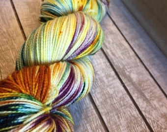 Hand dyed sock yarn in rich fall colors, superwash sock yarn indie dyed, handdyed knitting yarn