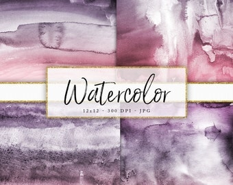 12x12 High Resolution Digital Paper 300 DPI Real Watercolor Texture  Pretty Watercolor Background Shades of Purple Pink Art Paper Real Paint