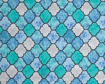 SALE 9.00 YARD - Blue & Aqua Migration Quatrefoil (Tangier Tiles) from Michael Miller's Migration Collection