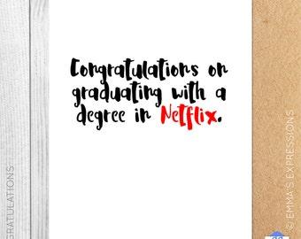 A Degree In Netflix / Congratulations / Graduation / Graduating / Greeting Card / Handmade / Printed