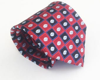 """Novelty tie: Viagra tie, fun ties, cool ties, awesome tie, wacky tie, weird tie, red and blue with """"the little blue pill"""""""