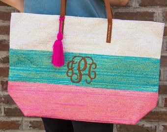Personalized Metallic Stripped Tote