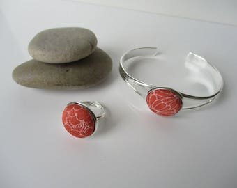 Bangle and Ring with detail of Japanese vintage silk kimono fabric - Orange and white