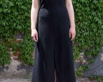 Vintage Cami Top Maxi Dress Black with Front Slit Scoop Neck, Slim Bodice S Sm Small
