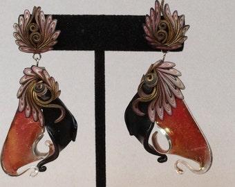 Boho Glass and Polymer Clay Pierced Earrings