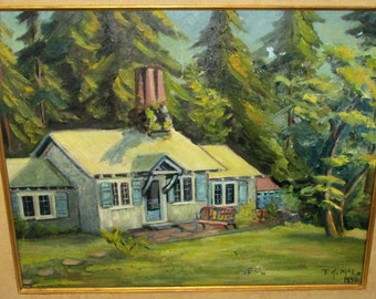 Mid-Century Modernist Landscape Oil Painting Forest House Cottage Signed WPA Style Regionalism Northwestern Art Framed