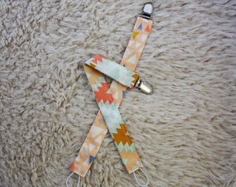 Pacifier clip set, baby girl pacifier clip, gender neutral, Aztec pacifer clip, baby shower gift