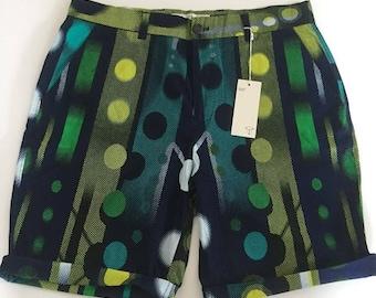 Blue/Green TYMO wax fabric slim cut shorts