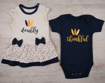 Boy Girl Twin Outfits First THANKSGIVING Twins DOUBLY