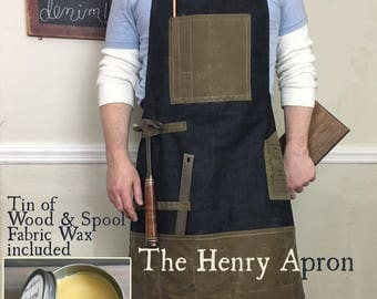 Man's Apron, Barber's Apron, Denim Apron, Apron for men, Shop Apron, Waxed Denim, Waxed Canvas, Mens apron, Barbers Apron, Carpenters Apron