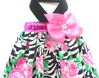 Pet Dog Clothing Zebra Stripe Pink Rose Bling Bling Sparkle Bow Harness Dress XXXS-XL