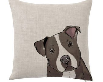 Throw Pillow Cover, Pet Pillow Cover, Blue Nose Pit Bull, Gifts for Dog Lovers, Cotton Throw Pillow, Cute Custom Pillows, Tote Tails