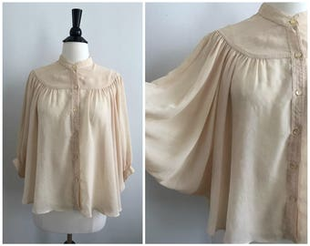 Sale! 20% Off!! // Vintage 1970s Cream Ivory Dolman Sleeve Cocoon Button Up High Neck Bohemian Victorian Blouse Top - Sz. Small / Medium