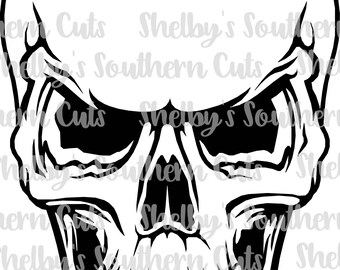Grinning Skull with Outline - svg eps png pdf dxf