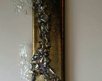 """SALE! Unique Fused glass wall art """"Uncaged II""""  irridised and dichroic wall panel(s) Wall Hanging, Picture, Gold"""
