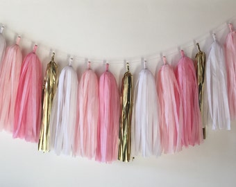 Tissue Tassel Garland  //  Blush//  Pink //  Gold  //  Party Decoration  //  Bridal Shower  //  Valentine's Day