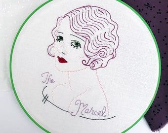 The Marcel | Salon Decor | Gift for Her | Bathroom Decor | Hoop Art | BFF Gift | Hairdresser Gift | Vintage | Retro | Cloth and Twig