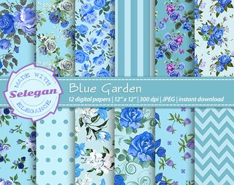 "Floral Digital Paper "" Blue Garden "" Blue Floral Shabby Chic Pattern flower scrapbook paper blossom seamless pattern instant download"