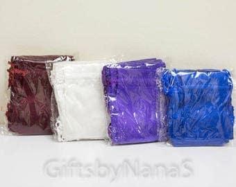 Favor bags, wedding favors, party favors, royal blue satin favor bag, burgundy favor bag, purple favor bag, white satin favor bag