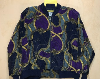Vintage TRES- BEAU Baroque Swag Chains Bomber Jacket