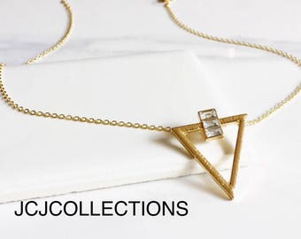 Triangle Necklace, CZ Diamond Necklace
