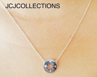 Tiny Silver Circle Compass Necklace