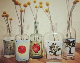 Watercolor Loteria bottles