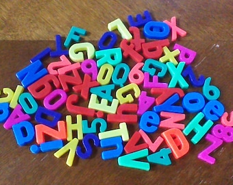 Huge Lot of 67 Vintage Magnetic Alphabet Letters, Refrigerator Alphabet Magnets, ABC 123 Letters Numbers