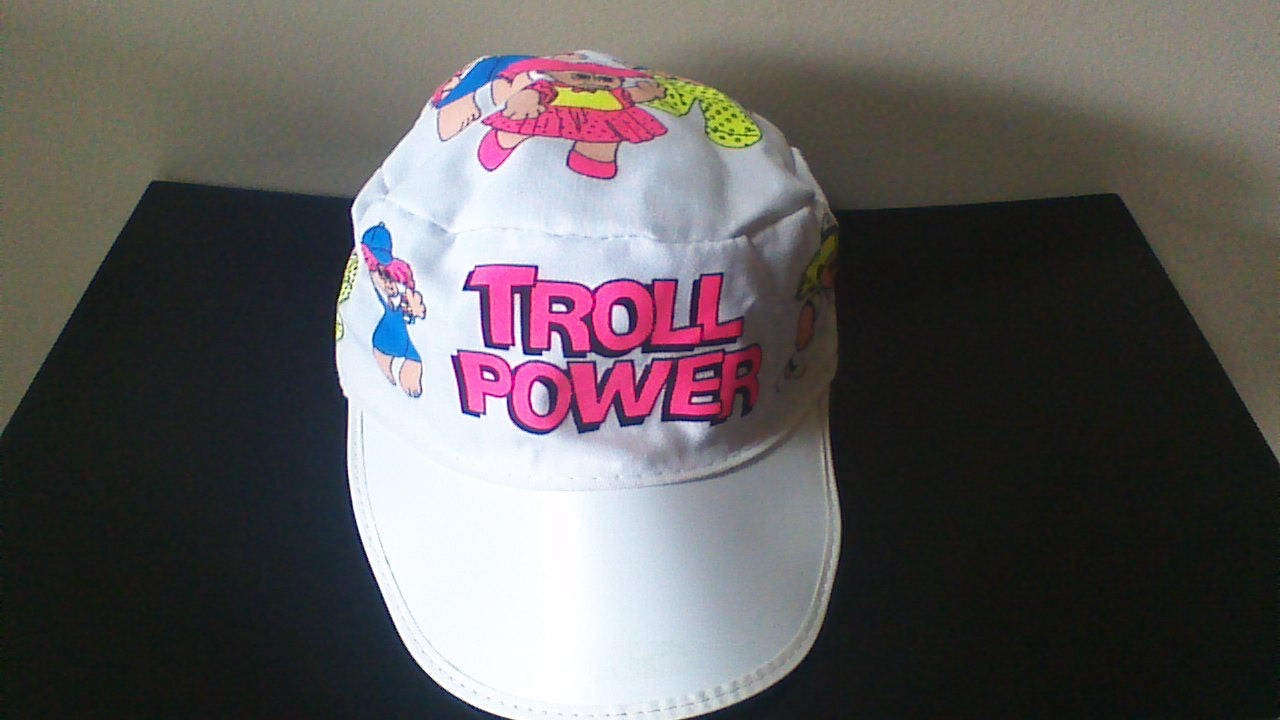 Vintage Troll Power Hat, New, VERY RARE HTF, I Love Trolls Baseball Cap